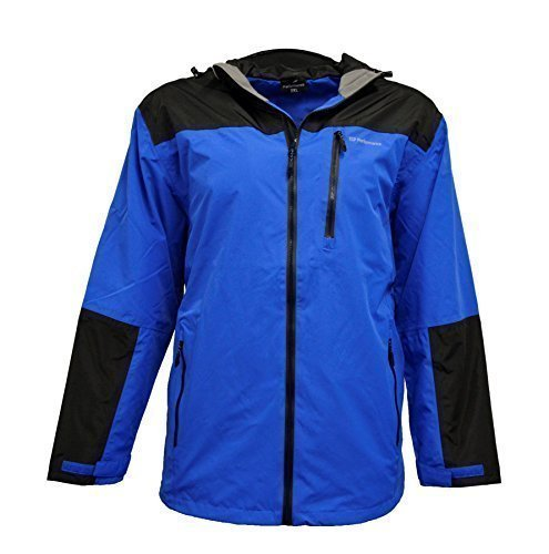 Espionage Kingsize JT092 Performance Waterproof Jacket Black/Blue 2XL Black/Blue (Big Jacke Kingsize-mens And Tall)