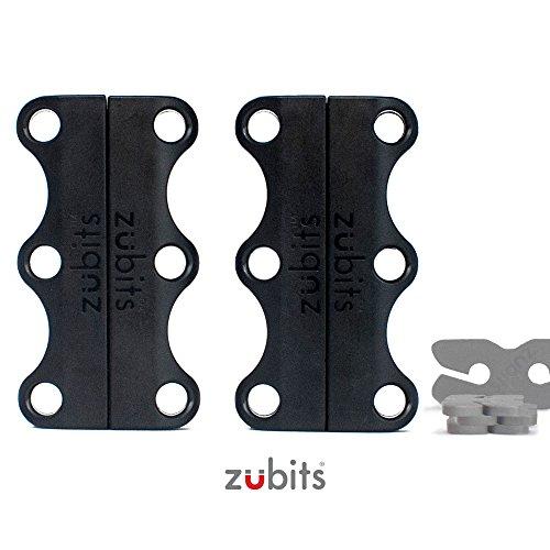 zubits - Magnetische Schuhbinder/Magnetverschlüsse für Schuhe - Nie Wieder Schuhe Binden! Größe #2 Jugendliche und Erwachsene in Schwarz