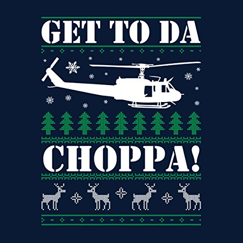 Get To Da Choppa Arnie Predator Christmas Knit Women's Vest Navy blue