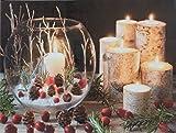 insatech LED Bild WINDLICHT GLAS 400x300mm Leinwandbild Kerzen mit Flackerlicht
