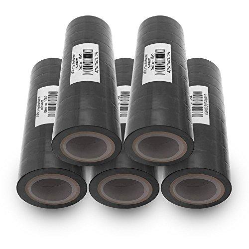 Isolierband 18mm 50x schwarz 10m je Rolle Klebeband Isolier band Isoband Universal selbstklebendes Klebe Band zum isolieren reparieren elektrischer Leitungen installation kfz ARLI 50 Stück