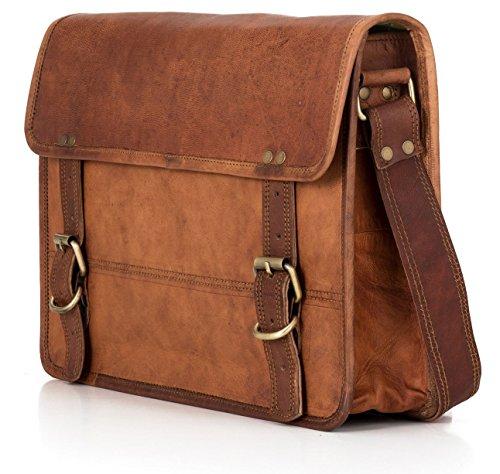 Umhängetasche BERLINER BAGS York Messenger Aktentasche Arbeitstasche Bürotasche Qualität 12 Zoll Laptoptasche Ledertasche Vintage Collegetasche Uni Braun Herren Damen Mittel M
