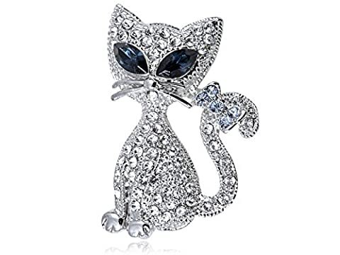 Cristal Swarovski Elements Eye chat siamois Kitty Cat Bow broche queue Fashion
