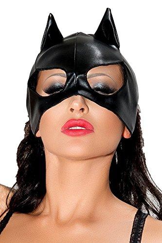 Pussy Cat Kostüm - Schwarze Katzenmaske aus wetlook Material Katzen Verkleidung Maske OnseSize