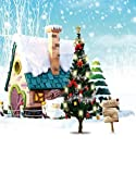 A.Monamour Christmas Winter White Snow Outdoor Snowman Blue Sky Pine Tree Scenic Photography Backdrops 5x7ft Vinyl - Road Sign Pine Tree House Snow