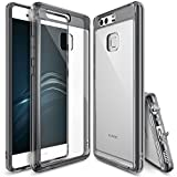 Ringke Fusion Designed for Huawei P9 Case, Crystal Clear PC Back TPU Rugged Flexible Bumper [Drop Protection/Shock Absorption Technology][Attached Dust Caps] for Huawei P9 - Smoke Black
