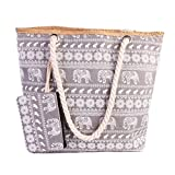 TUOTUO Damen Canvas Tasche Umhängetasche Tasche Urlaub Strand Bag Shopper Schultertasche-TypC