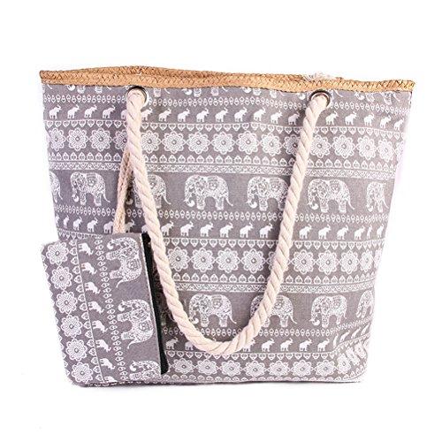 TUOTUO Le donne e le ragazze tela di viaggio borsa tote borsa a tracolla sovradimensionato borsa da spiaggia vacanza shopping bag-TipoB TipoD