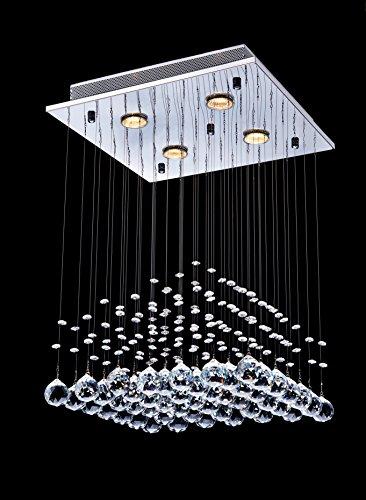 Saint Mossi ® Modern Unterputzmontage Regen Fallen Kronleuchter Kristall Leuchter Viereck entworfen Deckenleuchte 4*GU10 Base Birne Erforderlich - 2