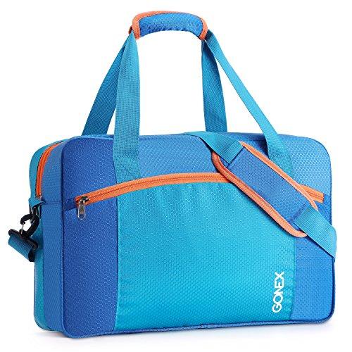 Gonex Beutel 35l Sporttasche, kein Auslaufen, wasserdicht, mit Tasche mit Reißverschluss Kleidung, trocken Nass für Männer, Frauen Kinder Schwimmen Lernen (Blau)