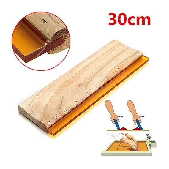 30cm 75 Durometer Silk Screen Printing Squeegee Wooden Handle Rubber Blade