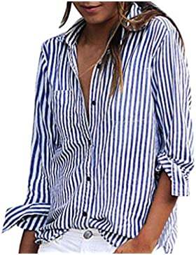 Lenfesh Mujeres Camiseta Blusa con Manga Larga Raya con Cuello EN V Camisa