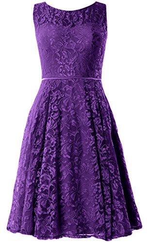 MACloth Women Lace Cocktail Dress Vintage Knee Length Wedding Party Formal Gown Violett