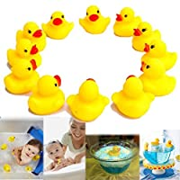 dazzling toys Rubber Ducks Small Cute Rubber Duck Baby Shower Duckies - Pack of 12