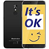 Blackview A10 Billige Handy, 2GB RAM + 16GB ROM 5.0 Zoll Touch-Display Günstig Smartphone, 5MP + 8MP Kamera Handy Ohne Vertrag, 2800mAh Akku Dual SIM Smartphone mit Fingerabdruck/GPS,Schwarz