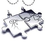 Veuer Edelstahl Schmuck in Silber Partner 2 Ketten Puzzle Ich Liebe Dich! Geschenk zu Weihnachten für Frauen , Freundin , Ehe-Frau