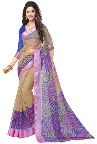 Miraan Women's Organza Saree With Blouse Piece (Srh003_Purple)