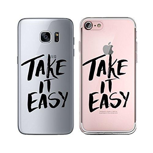 Original Lanboo® Silikon Case Für iPhone 6 Plus / 6s Plus #4 Motiv 26 - Design Druck Leben Spruch Schriftzug Weisheit Sinn - Hülle Cover Tasche Etui Schale - fuck you - fick dich- Weiß Take it easy - Schwarz