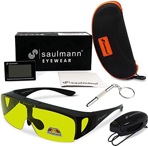 Saulmann® Polarisierte Unisex Flip-UP Überzieh Blendschutzbrille - Kontrast Outdoor- & Nacht Fahrbrille mit UV-Schutz gegen blendendes Licht und Antireflexbeschichtung - Polbrille ZO5115