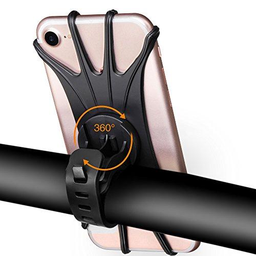Handyhalterung Fahrrad, tronisky Handy Fahrradhalterung für iPhone X/8/7/6/6s Plus, Samsung Galaxy & Allen Handy mit 4-6 Zoll, Universal Silikon Verstellbarer Handyhalter für Fahrrad Motorrad, 360°Rotation