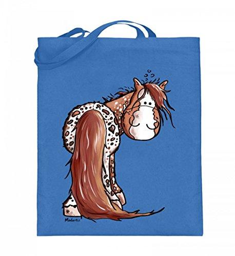Hochwertiger Jutebeutel (mit langen Henkeln) - lustiges Appaloosa Pferd Comic Cartoon Blau