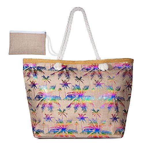 MOOKLIN Große Strandtasche mit Reißverschluss Sommer TascheVerschluss Damen Shopper Tasche Schultertasche Schwimmbad Badetasche Umhängetasche Beach Bag (01) (Damen-xl-sonnenhut)