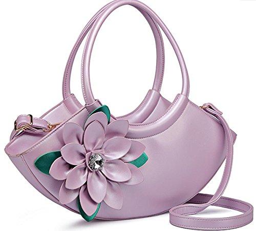 HYLM Art- und Weisedame-Handtaschen-neue Kurier-Beutel-Blumen punktierte Schulter Bagg violets
