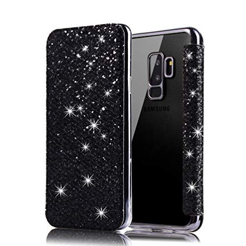 Coollee Coque Galaxy S9 Plus Paillette Bling Glitter PU Cuir Wallet Flip Cover avec Transparent Souple TPU Silicone Bumper Back Case Ultra Slim Fonction Stand et Porte Carte Antichoc Cover, Noir