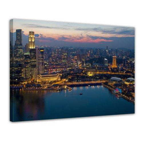 Wandbild - Singapur - Bild auf Leinwand - 80x60 cm 1 teilig - Leinwandbilder - Bilder als Leinwanddruck - Städte & Kulturen - Asien - Skyline Singapurs bei Nacht