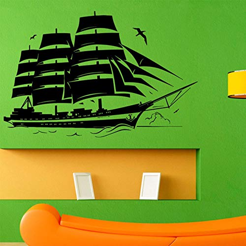 Dwqlx Mode Piratenschiff Wandtattoo Segelboot Vinyl Aufkleber Nautischen Grafik Vinyl Home Art Dekoration Benutzerdefinierte Größe Farbe B-65 * 42 Cm (Benutzerdefinierte Halloween Grafik)