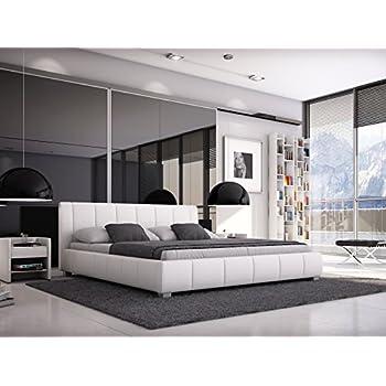 Bett Mit Gepolstertem Kopfteil sam polsterbett 180x200 cm weiß bett mit gepolstertem hohen