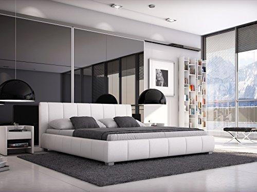 SAM® Designer-Polsterbett Leon in weiß mit gepolstertem, hohen Kopfteil, Bett in m...