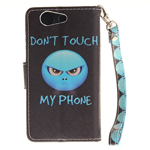 ISAKEN Accessories Cover Per Sony Xperia Z3 Mini PU Pelle Portafoglio Custodia, Elegante borsa Drawing Pattern Design in Sintetica Ecopelle Libro Bookstyle Wallet Flip Portafoglio Case Cover Anti Slip DONT TOUCH MY PHONE head