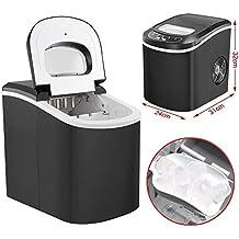 Yahee Edelstahl Eiswürfelmaschine Eismaschine Icemaker Eiswürfelbereiter Schwarz