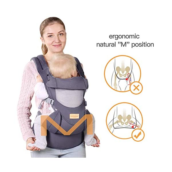 Infant Toddler Baby Carrier Wrap Backpack Front and Back, Hip Seat & Hood, Soft & Breathable Cotton, Cool Air Mesh, Grey tiancaiyiding ❤ Ergonomic Design: Wide and thick backpack straps help relieve stress . Easy to put on or take off. ❤ M shape Position: Stop hurting your baby's legs. Keep blood circulation in normality. ❤ All-round Support: Simple and thus strong structure. 360° wraps the baby against falling out. Collapsible hood for wind and sun protection 8
