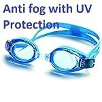 Hebrik Unisex Slip-Resistant and Anti-Fog Coating Goggles with Earplugs for Swimming (Multicolour)