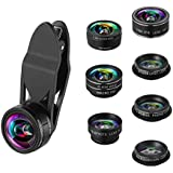 KeeKit Camera Lens Kit, 9 In 1 Cell Phone Lens Kit, 2X Zoom Telephoto Lens + 0.36X Super Wide Angle Lens + 198 Fisheye Lens + 15X & 20X Macro Lens + CPL Lens+ Kaleidoscope Lens + Starburst Lens