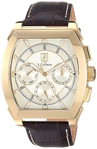 S. Coifman Men's 'Legacy' Quartz Gold-Tone and Leather Casual Watch, Color:Brown (Model: SC0407)