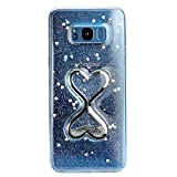 MAOOY Galaxy S8 Hülle, Handyhülle Galaxy G950F Durchsichtig Glitzer, Luxus Bling Glitter Herzen Sanduhr Treibsand Liquid Weich Silikon Handytasche Schützend für Galaxy S8, Silber
