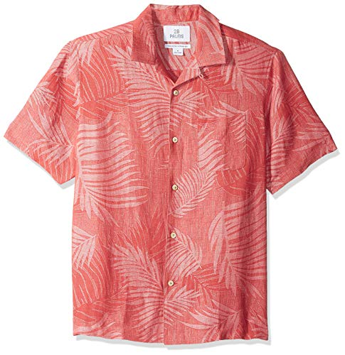 28 Palms Relaxed-Fit Silk/Linen Tropical Leaves Jacquard button-down-shirts, Nantucket Red, US (EU XL-XXL) -