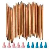 NBEADS Ferri da Maglia in bambù, 75 Pezzo di Aghi per Uncinetto A Doppia Punta con Cappucci da 2 mm A 10 mm per I Maghi Maglioni Che Lavorano A Maglia,