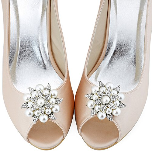 ElegantPark Fashion Tanzschuh Party Schuh Damen Brautschuh Schuhclips AE Silber