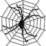Tela de araña Gigante de 152,4 cm con Espeluznante araña Gigante decoración de Halloween de Interior y Exterior