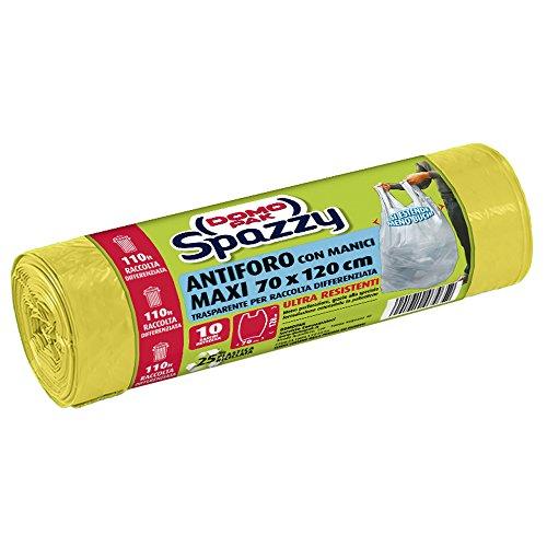 Domopak Spazzy Sacchi Nettezza Antiforo con Manici - Raccolta Differenziata - Condominiale 110 lt - Giallo trasparente - 1 confezione da 10 pezzi