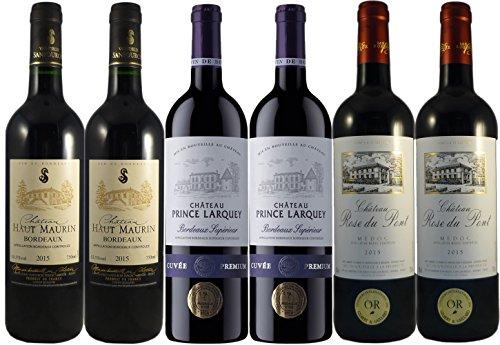 LE WINE CLUB Boîte de 6 Grands Vins de Bordeaux Millesime Exceptionnel Château Haut Maurin 2015/ Château Prince Larquey 2015/ Château Rosé du Pont 2015 75 cl