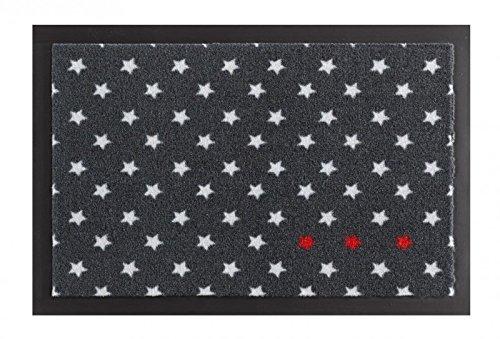 HANSE Home 102513 Fußmatte, Polyamid, anthrazit/rot / weiß, 40 x 60 x 0,7 cm
