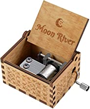 Music Box Moon River Theme Vintage Classic Handmade Engraved Musical Box,Antique Carved Wooden Hand Crank Musi
