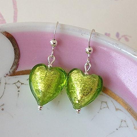 Diana Ingram lime green Murano glass small heart (13mm) earrings