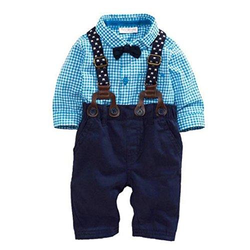 Amison Carina Bambino Ragazzi Pantaloni Set Plaid T-shirt In alto Bavaglino Pantaloni Generale Abiti (0-3M)