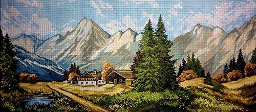 """Gobelin Stickbild Stickpackung \""""Bergenlandschaft\"""" halber Kreuzstich 73x32cm. inkl. Sticktwist cod.197"""